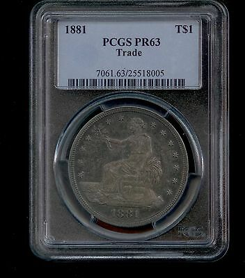 1881 Proof Silver Trade Dollar Graded PR63 by PCGS