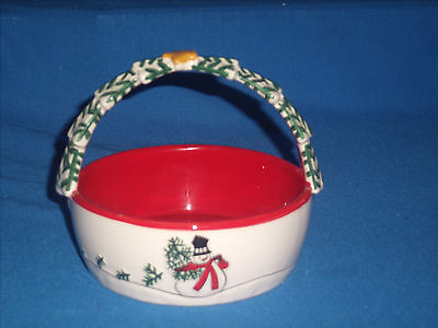 """2007 Fitz and Floyd Holiday Home """"SNOWMAN"""" Basket with Handle (ZZ8-10)"""