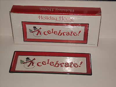 """2007 Fitz and Floyd Holiday Home """"CELEBRATE!"""" Elongated Tray 11""""x4""""  (BB-10)"""