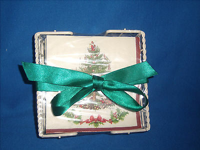Spode ChristmasTree-Holly Boarder Paper Beverage Napkin~40ct with holder (DD4-10