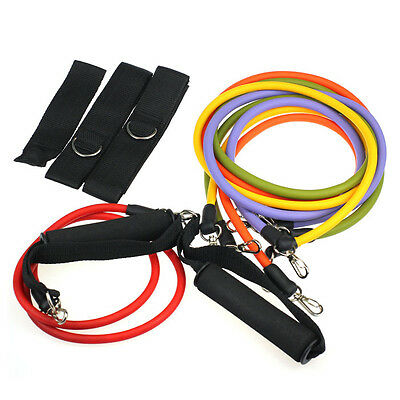 11pcs Latex Stretch Resistance Bands Exercise Tube Workout Yoga Fitness Hot NEW