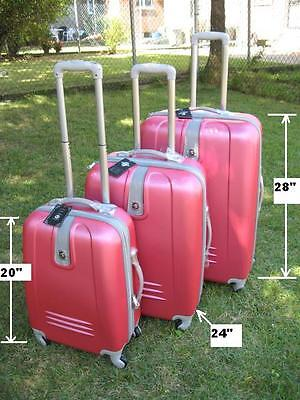 "NWT PINK ABS HARDCASE EXPANDABLE SUITCASE LUGGAGE UPRIGHT 20""24""28"" 3PCS/SET"