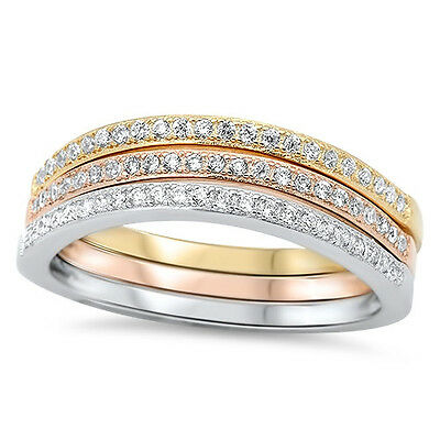 Sterling Silver Rose Yellow Gold Plated 3 in 1 Wedding Set Band Ring Size 3-11