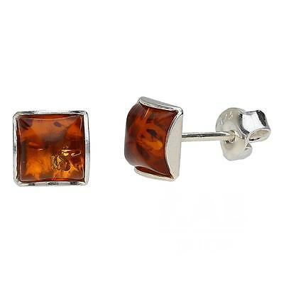 COGNAC BALTIC AMBER STERLING SILVER 925 SQUARE STUD EARRINGS 4 mm.KAB-6