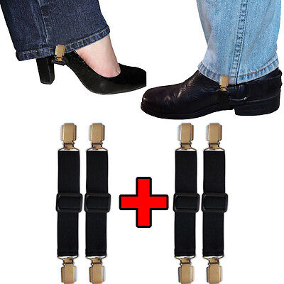 Biker Casual Elastic Adjustable Boot Straps Pant Stirrups Jod Clips 2 Pairs New