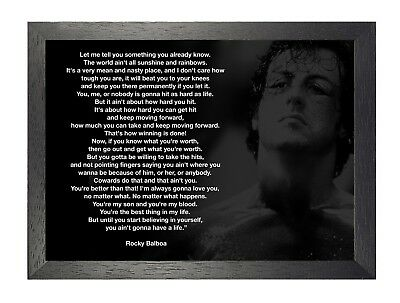 Rocky Balboa 17 Sylvester Stallone Boxer Rocky Film Motivation Quote Poster