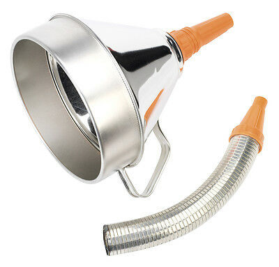 Sealey Funnel Metal with Flexible Spout & Filter 200mm FM20F Oil & Fuel Resist