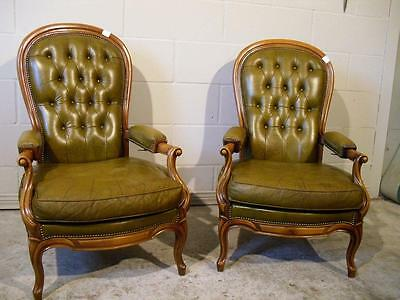 Antique Italian Leather Arm Chairs Solid Walnut Frames, Green Leather, Reclines