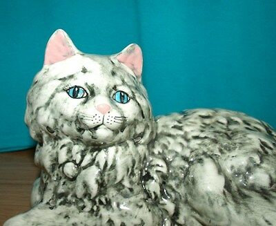 "Vintage Ceramic Laying Gray Cat Figurine  5-1/2"" Tall 10"" Long"