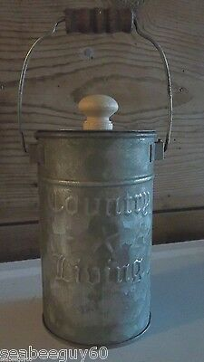 """Milk Can Bucket Primitive Distressed COUNTRY LIVING 5 3/4"""" Handle & Lid """"NEW"""""""