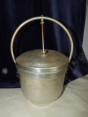 Vintage HAMMERED ALUMINUM ICE BUCKET w/ ATTACHED LID Made In Italy Marked