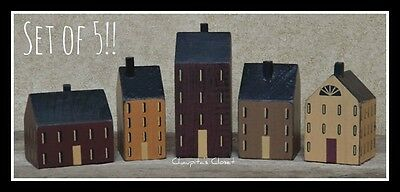 Set of 5 Primitive Country Wood Block Saltbox Houses Shelf Sitter Home Decor