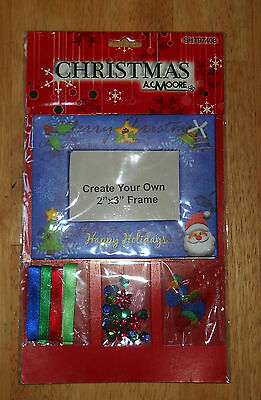 "New Christmas Picture Frame Kids Craft Kit 2""x3"" Frame A.C. Moore Photo Fun NIP"