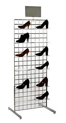 Grid Shoe Floor Display 2 Ft x 5 Ft Retail Footwear Store Fixture Chrome NEW