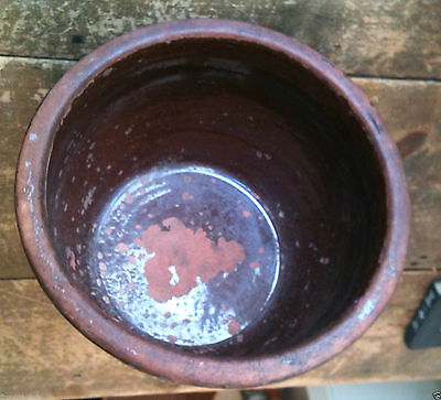 Vintage Beautiful Collectible Large Redware Bowl / Planter - SMALL 1 Gallon Size