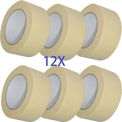"12X roll MASKING Tape 50mm 2""x 50m STRONG painting decoratorts art kraft painter"