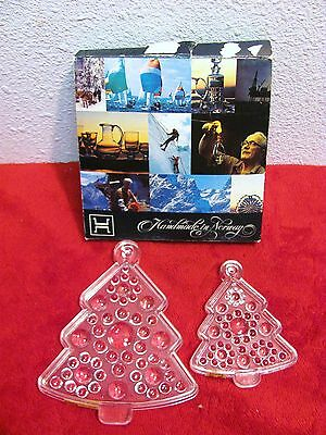 LOT OF 2 Vintage Hadeland Norway Glass Ornament Christmas Trees 30% LEAD CRYSTAL