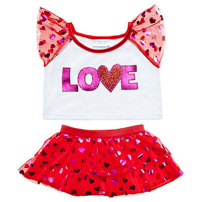 Build a Bear Clothes- Valentine's Day Love Heart Sparkle Skirt Outfit 2 pc.- New