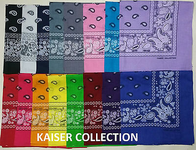Lot Of 6 22 x 22 Paisley Print 16 Color Scarf Bandana 100% Cotton Double Sided K