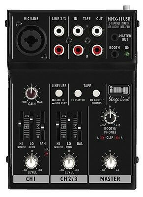 Stageline MMX-11USB Compact USB Professional Mixer Mixing Desk Live Sound Studio