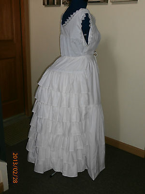 Victorian Bustle White Mourning Petticoat Civil War Dress Gown  Ruffles Gothic