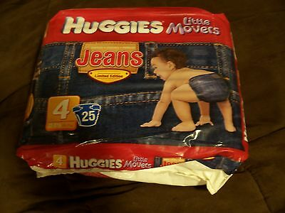 RARE Limited Edition Baby Toddler HUGGIES Denim Jean Diapers Size 4 little mover