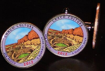 Coin Cufflinks/Tie Tac Colorized 2012 Chaco Culture National Park Quarter