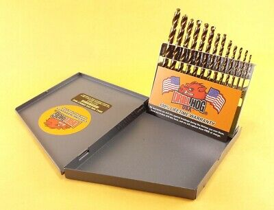 Drill Hog® 13 Pc COBALT Drill Bit Set Index Cobalt Bits M42 Lifetime Warranty