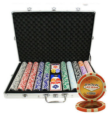 NEW 1000 14G LAS VEGAS LASER CASINO TABLE CLAY POKER CHIPS SET for russ***