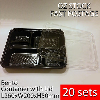 20sets - Bento Box Sushi Party Disposable Plastic Container w Clear Lid BNIB