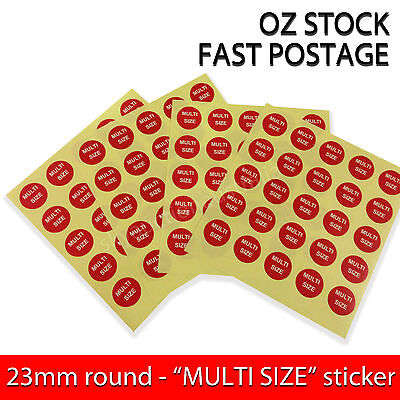 "Garment Label Clothing Round stickers Self-Adhesive - ""Multi Size"" - 200pcs"