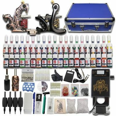Beginner Complete Tattoo Kit Set 2 Machine Gun Blue SuitCase 40 Inks Grip Power
