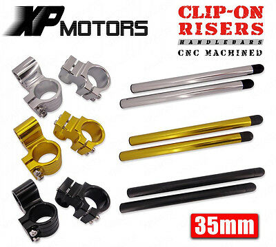 """35mm CNC Clip-Ons Riser Handlebars 1"""" Raised Universal Fit 35mm Motorcycle Forks"""