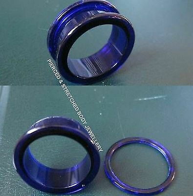 24mm Blue Tunnel with Screw Fit Back - Body Jewellery - Tunnels & Plugs