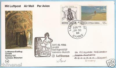 CYPRUS 1986 RARE LUFTHANSA FIRST FLIGHT CARD FFC LARNACA-MUNICH GERMANY!!