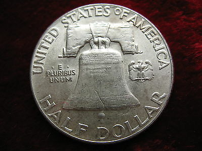 1949-P Franklin Silver Half Dollar, CHOICE ALMOST UNCIRCULATED! MINT LUSTER!
