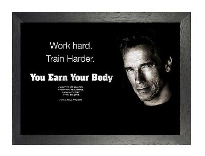 Motivational Arnold Schwarzenegger 15  Earn Your Body Quote Gym Poster Photo