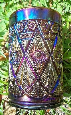 "IMPERIAL Carnival Glass Super ELECTRIC Purple ""Diamond Lace"" Tumbler~Great Color"