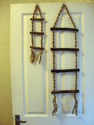 Rope Bird Ladder with Wooden Rungs Budgie Parrot Bird Cage Ladders in 2 Sizes