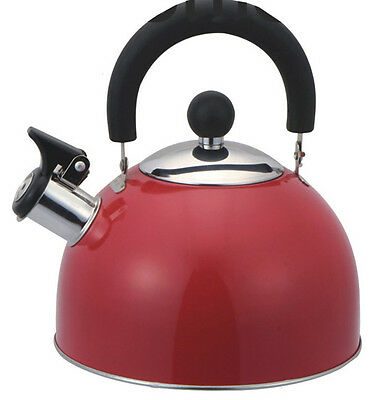 QUALITY BRUSHED STAINLESS STEEL WHISTLING TEA KETTLE TEA POT 2.5L, TK10349 RED
