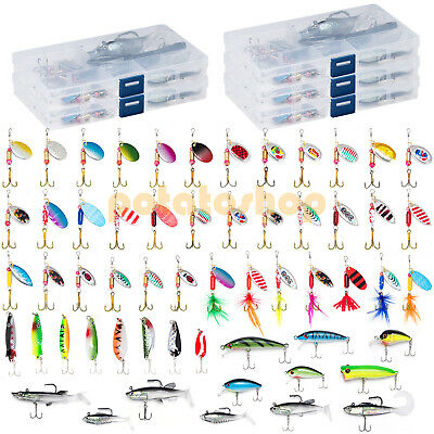 60 Fishing Lures Set Spinner Spoon Plugs Popper Crankbait in 5 Tackle Boxes Pike