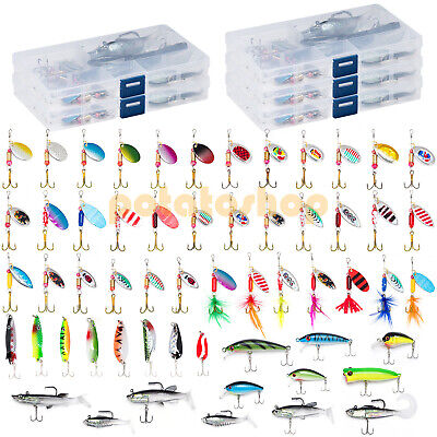 60 Fishing Lures Set Spinners Spoon Plugs Pike Lure in 5 Tackle Boxes Perch Bass