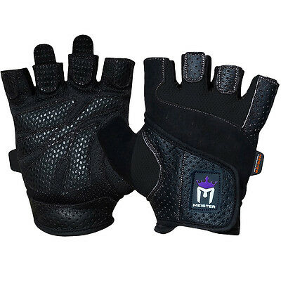MEISTER WOMEN'S FIT WEIGHT LIFTING GLOVES  Ladies Gym Workout Crossfit New BLACK