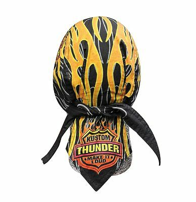 Black Orange Kustom Thunder Headwrap Bandanna Sweatband Durag Free Shipping