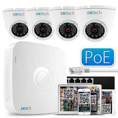 4 960P Professional Camera + Full HD 8 CH NVR Complete PoE IP P2P QR CCTV Kit UK