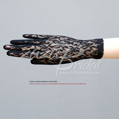 Fabulous Stretch Flower Pattern Lace Gloves Wrist Length 2BL