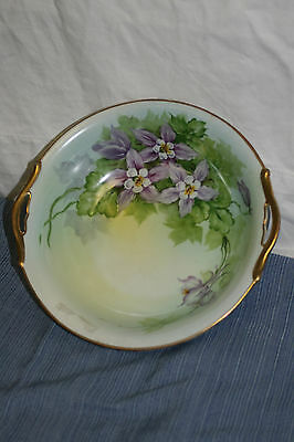 ANTIQUE PORCELAIN NORITAKE HAND PAINTED FLORAL PASTEL BOWL WITH GOLD EDGE