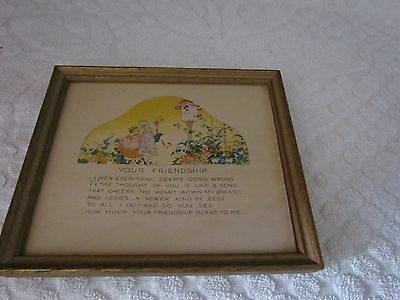 """GOLD ART DECO FRAME WITH YOUR FRIENDSHIP SAYING PIC SIZE IS 5"""" BY 6"""" AWESOME"""