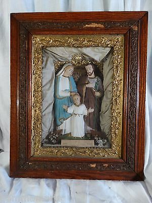 Catholic Victorian Shrine Altar Statue Jesus Mary & Joseph Shadow reliquary Box