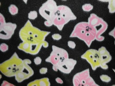 "FLEECE BABY BLANKET - girl cat shower gift soft non-pile 30"" x 36"" PERSONALIZE"